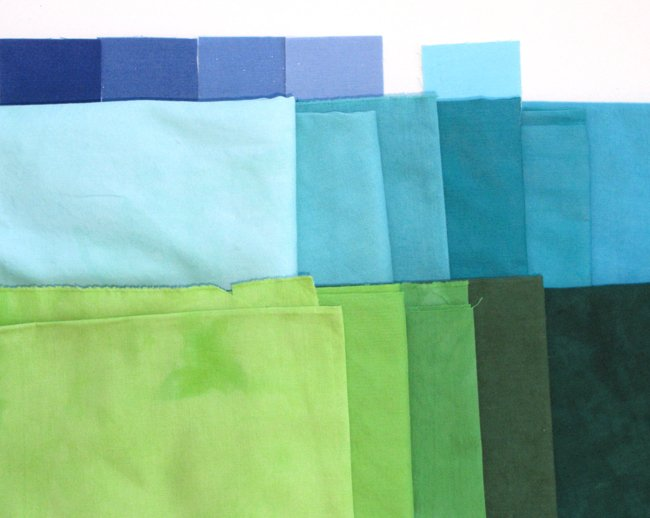 Fabrics dyed for commissioned artwork, Teton Tranquility, by Lisa Flowers Ross.