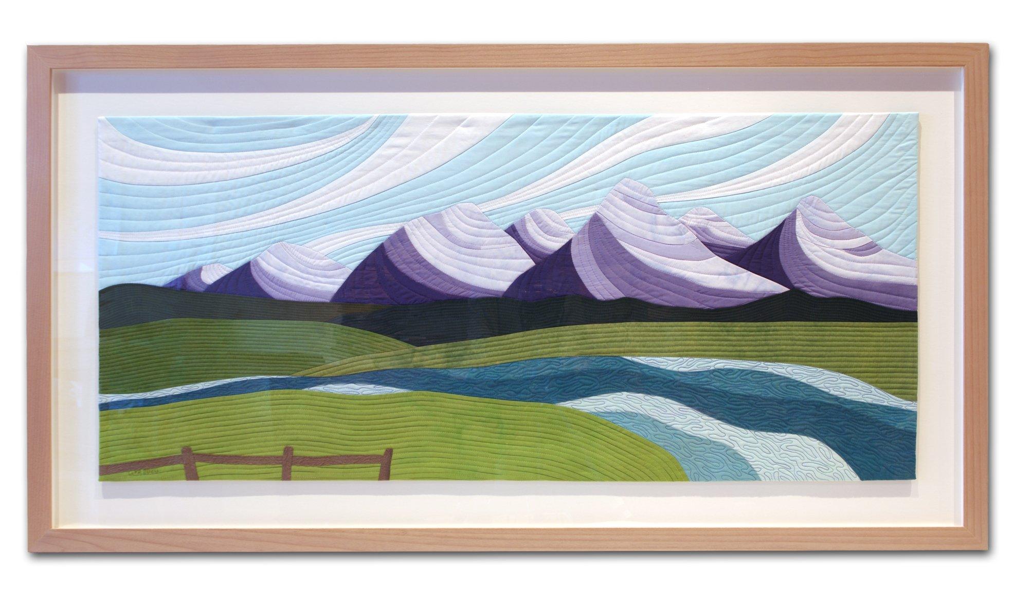 Framed view of commissioned artwork, Teton Tranquility, by Lisa Flowers Ross.